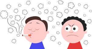El fumar y otro hombre enojado Imágenes de archivo libres de regalías