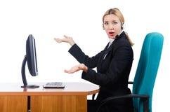 El funcionamiento de la empresaria de la mujer aislado en blanco Imagen de archivo libre de regalías