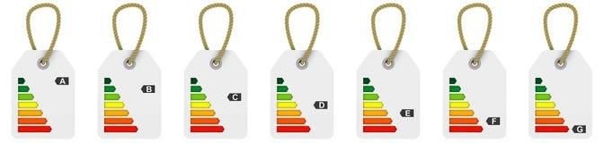 El funcionamiento de la energía clasifica etiquetas Fotografía de archivo libre de regalías