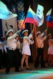El funcionamiento de los soldados y marineros rusos, bailarines de la canción y conjunto de la danza del distrito militar de Leni Imagen de archivo libre de regalías