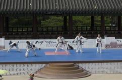 El funcionamiento del arte marcial y el evento coreanos tradicionales de la experiencia muestran imágenes de archivo libres de regalías
