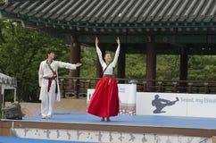 El funcionamiento del arte marcial y el evento coreanos tradicionales de la experiencia muestran Foto de archivo libre de regalías