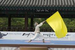 El funcionamiento del arte marcial y el evento coreanos tradicionales de la experiencia muestran Imagenes de archivo