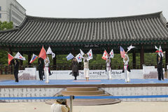 El funcionamiento del arte marcial y el evento coreanos tradicionales de la experiencia muestran imagen de archivo