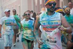 El funcionamiento del color es una raza recibida mundial de la diversión Fotos de archivo