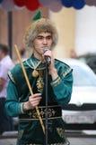 El funcionamiento del conjunto nacional bashkir Yandek (Bashkortostan) de los músicos y de los bailarines Foto de archivo