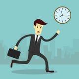 El funcionamiento del hombre de negocios y se apresura para arriba Fotografía de archivo