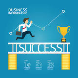 El funcionamiento del negocio al concepto del éxito/se puede utilizar para el infographics/ stock de ilustración