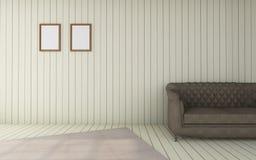 El funcionamiento y la sala de estar /3D moderno rinden el vintage del lujo de la imagen Foto de archivo libre de regalías