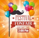 el funfair del festival del cartel hincha el bigote del vuelo libre illustration