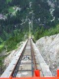 El funicular más escarpado de Gelmerbahn en Europa Fotografía de archivo