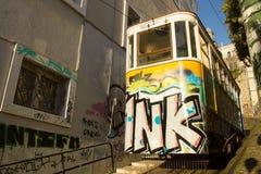 El funicular viejo de Lavra en Lisboa, Portugal Imagenes de archivo