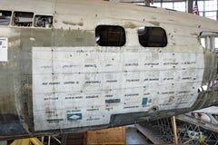 El fuselaje de Swoose con los países visitados Fotos de archivo