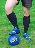 El futbolista está listo para jugar Imagenes de archivo