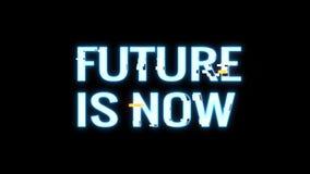 El FUTURO de neón fresco de la interferencia AHORA ES movimiento universal de la tecnología calidad inconsútil del lazo del logot ilustración del vector