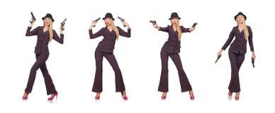 El gángster de la mujer con el arma en concepto del vintage imagen de archivo libre de regalías