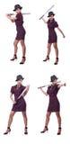 El gángster de la mujer con el bate de béisbol Fotografía de archivo libre de regalías
