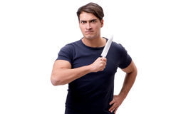 El gángster joven con el cuchillo aislado en blanco Fotografía de archivo
