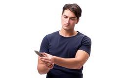 El gángster joven con el cuchillo aislado en blanco Imagen de archivo libre de regalías