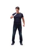 El gángster joven con el cuchillo aislado en blanco Fotografía de archivo libre de regalías
