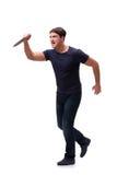 El gángster joven con el cuchillo aislado en blanco Fotos de archivo libres de regalías