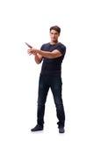 El gángster joven con el cuchillo aislado en blanco Imagenes de archivo