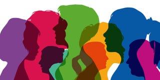 El género femenino simbolizado por la superposición de diversos perfiles stock de ilustración