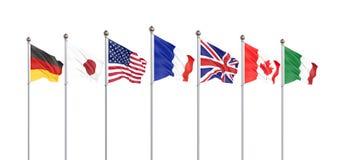 El G7 se?ala las banderas por medio de una bandera que agitan de seda de pa?ses del grupo de siete estados Reino Unido 2019 de Ca stock de ilustración