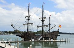 El Galeón Andalucía at port in St Augustine Florida. The historic Spanish ship El Galeón Andalucía moored at the port in St Augustine, Florida Royalty Free Stock Photography