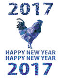 El gallo azul aisló el símbolo del vector del polígono de 2017 Imágenes de archivo libres de regalías