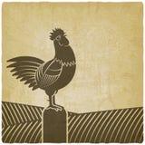 El gallo cantó en fondo del vintage de los campos de granja stock de ilustración