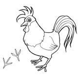 El gallo con el colorante de la impresión de la pata pagina vector Fotos de archivo libres de regalías