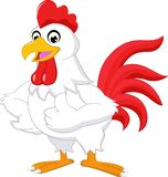 El gallo de la historieta manosea con los dedos para arriba aislado en el fondo blanco ilustración del vector