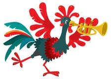 El gallo divertido toca la trompeta Imagen de archivo