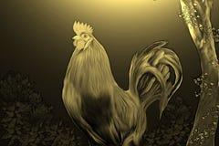 El gallo en la yarda en el oro de la noche fotografía de archivo