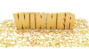 El ganador con las estrellas en el fondo blanco 3D de alta calidad rinde Fotografía de archivo libre de regalías