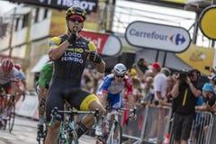 El ganador de la etapa - Tour de France 2018 imagen de archivo libre de regalías