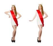 El ganador del concurso de belleza aislado en el blanco Imagenes de archivo