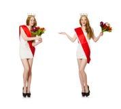 El ganador del concurso de belleza aislado en el blanco Imagen de archivo