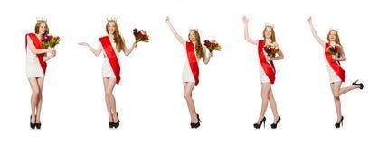 El ganador del concurso de belleza aislado en el blanco Imágenes de archivo libres de regalías