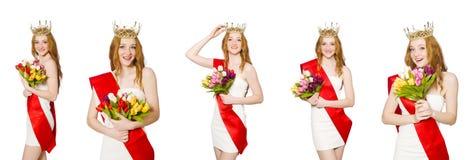 El ganador del concurso de belleza aislado en el blanco Fotografía de archivo libre de regalías