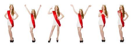 El ganador del concurso de belleza aislado en el blanco Imagen de archivo libre de regalías