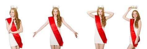 El ganador del concurso de belleza aislado en el blanco Fotografía de archivo