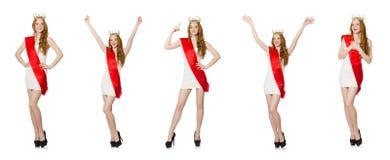 El ganador del concurso de belleza aislado en el blanco Fotos de archivo