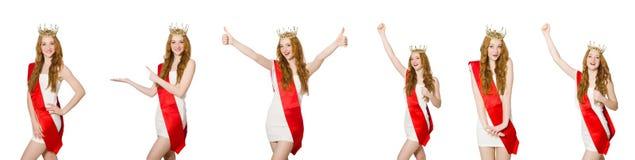El ganador del concurso de belleza aislado en el blanco Fotos de archivo libres de regalías