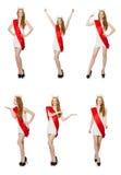 El ganador del concurso de belleza en el blanco Fotos de archivo