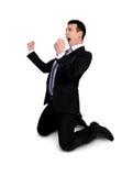 el ganador del hombre de negocios da para arriba fotografía de archivo libre de regalías