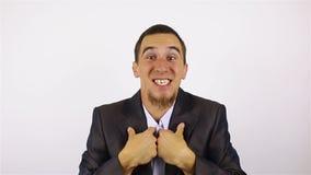 El ganador, hombre de negocios joven Excitement almacen de video