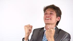 El ganador, hombre de negocios joven Excitement almacen de metraje de vídeo