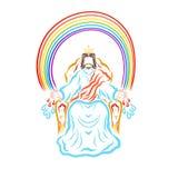 El ganador Jesús en el trono debajo del arco iris lo envía gente